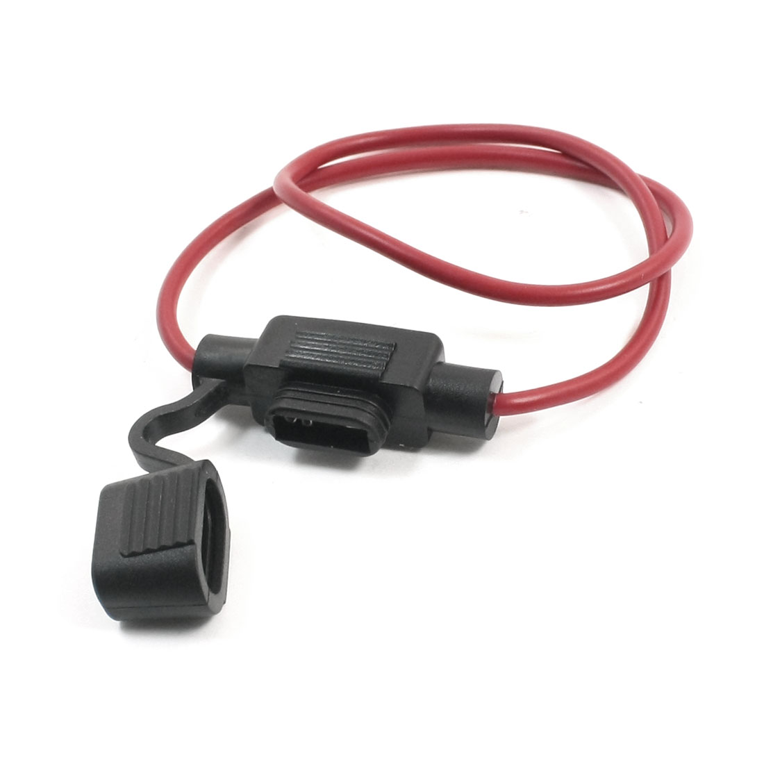 Vehicles Car Rubber Mini Blade Fuse Holder Container Wire Leads Black Red
