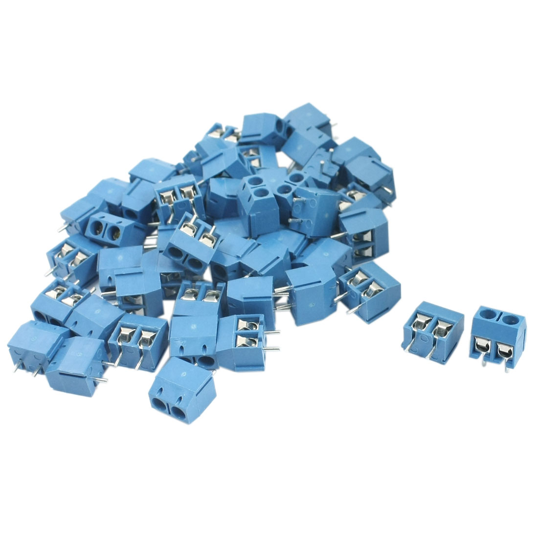 300V 12A 14-22AWG 5mm Pitch 2-Position Pluggable Type PCB Mounting Blue Plastic Screw Terminal Block Connector 50 Pcs