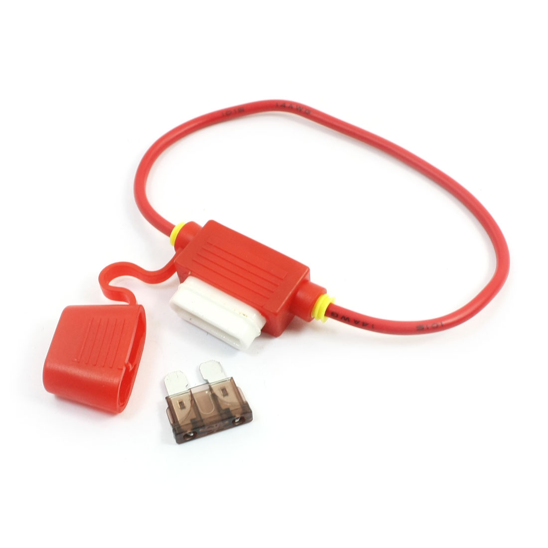 Red Vehicles Car Rubber Blade Fuse Holder Container + 32V 7.5A Fuse