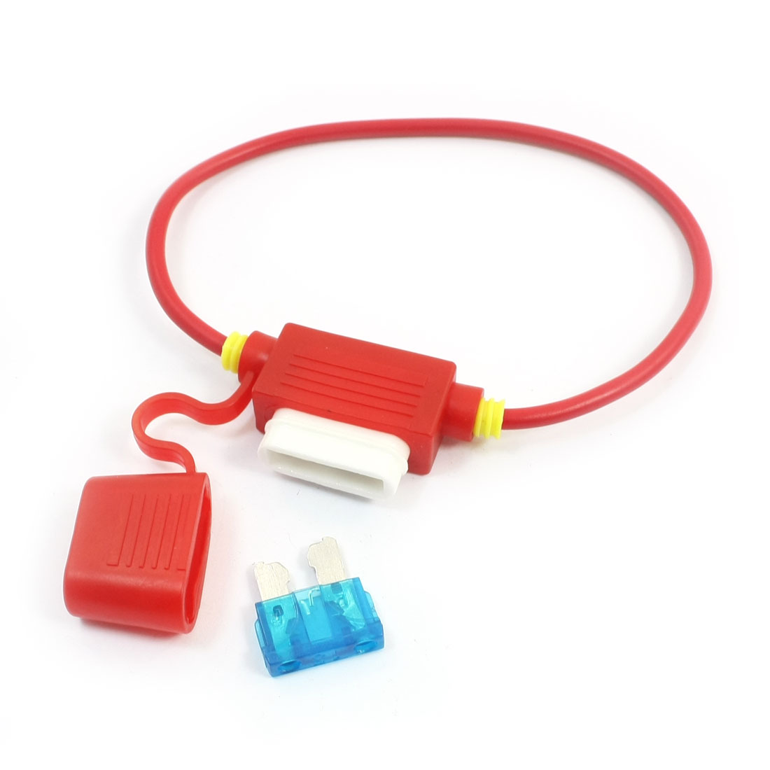 Red Vehicles Car Rubber Blade Fuse Holder Container + 32V 15A Fuse