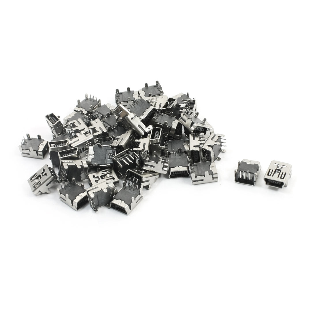 50Pcs USB Mini-B 5 Pin Silver Tone Female 90 Degree Right-Angle PCB Jack Connector Port 2.0