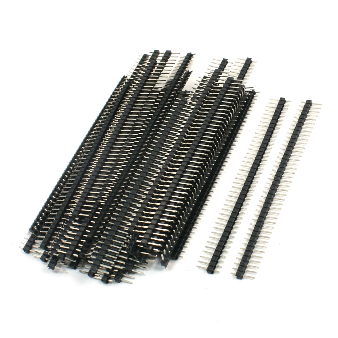 50Pcs Black 40 Pin 2.54mm Single Row Straight Male Pin Header Strip