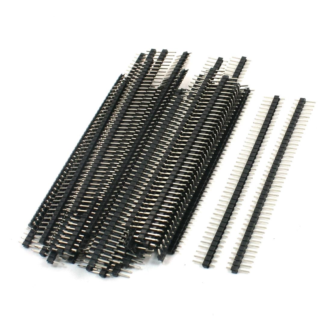 50Pcs Black 40 Pin 2.54mm Single Row Straight Male Pin Header Strip