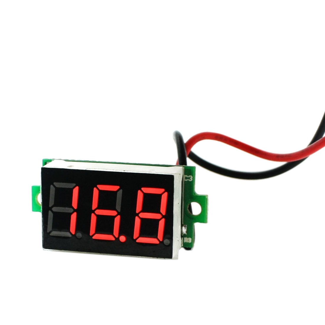 DC 3.2-30V 15cm 2 Wire 3 Digits Red LED 2mm Mounting Hole Dia Voltmeter Battery Car Voltage Monitor