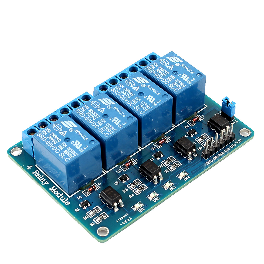 Optocoupler Shielded PCB Board Four Channel Relay Module DC 5V for PIC AVR
