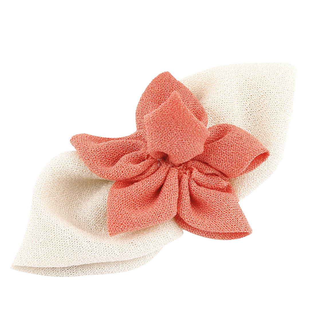 Watermelon Red Organza Flower Design Beige Bowknot Detail Silver Tone Metal Single Prong Alligator Clip Hairclip for Lady