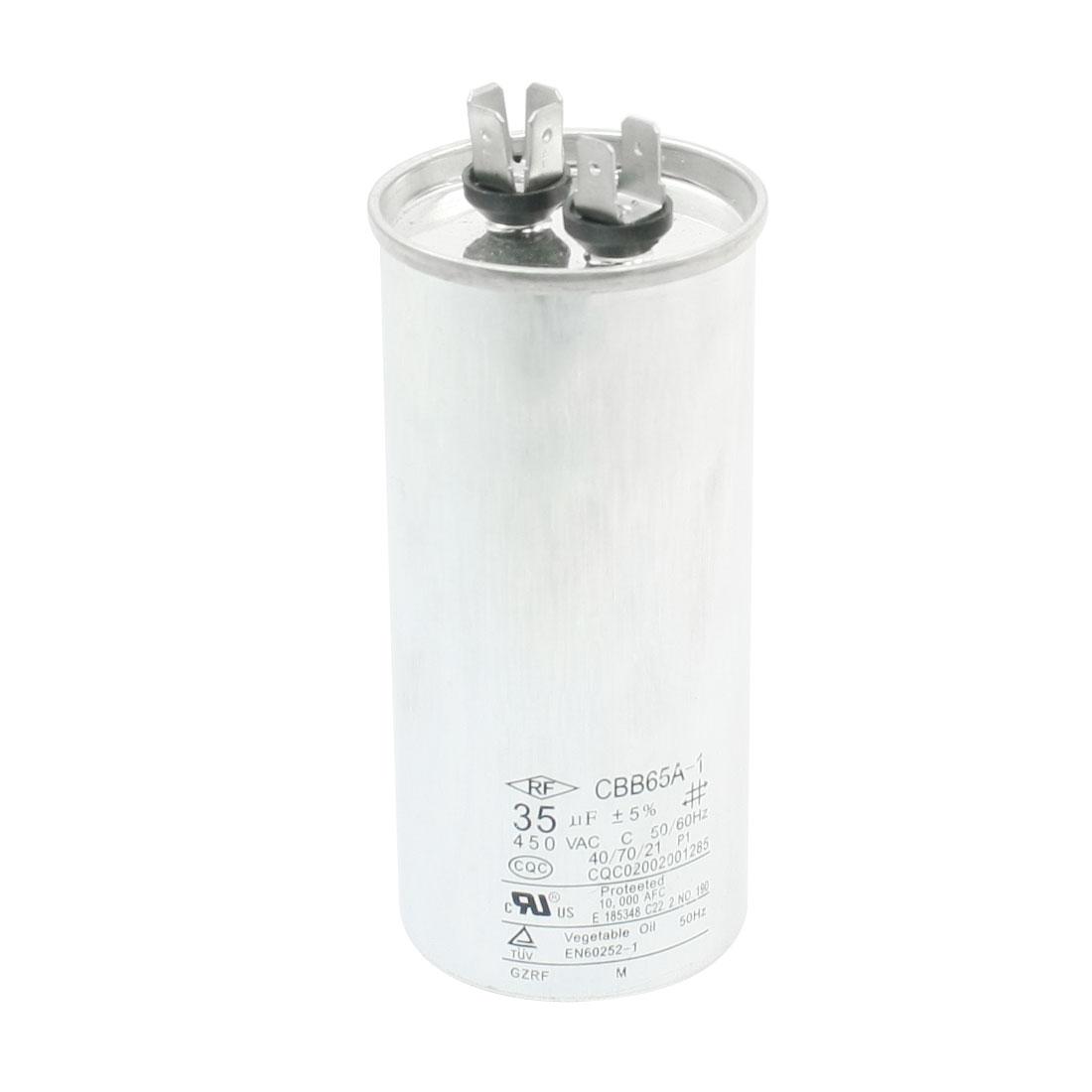 AC 450V 35uF 50/60Hz Lug Terminal Refrigerator Motor Running Capacitor CBB65A-1