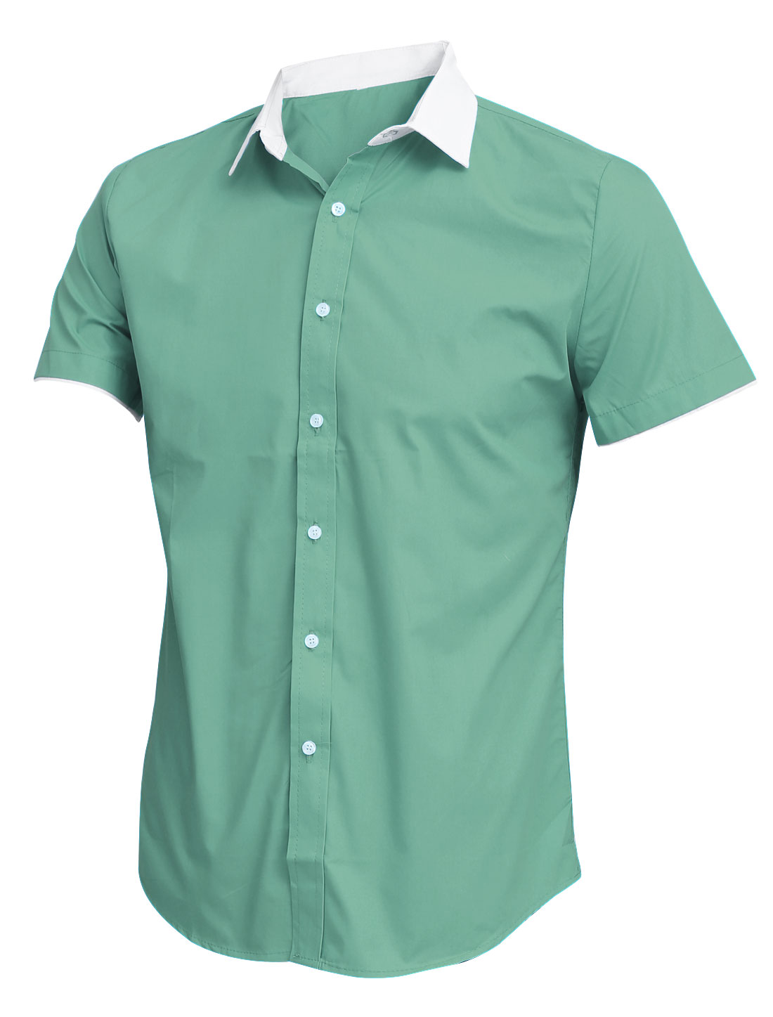 Men Single Breasted Front Short Sleeves Casual Light Green Shirt M