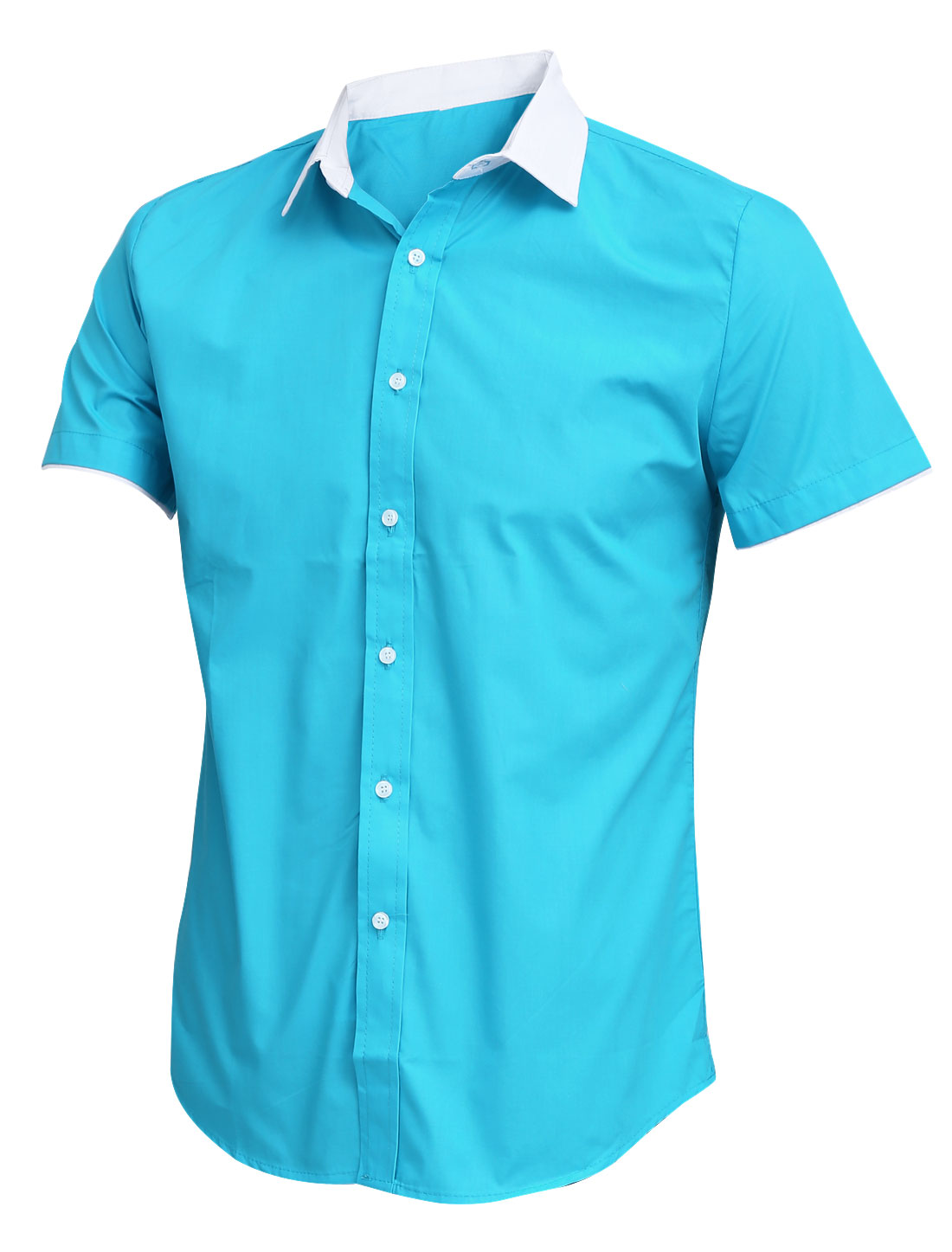 Button Closure Front Point Collar Turquoise Shirt for Man M