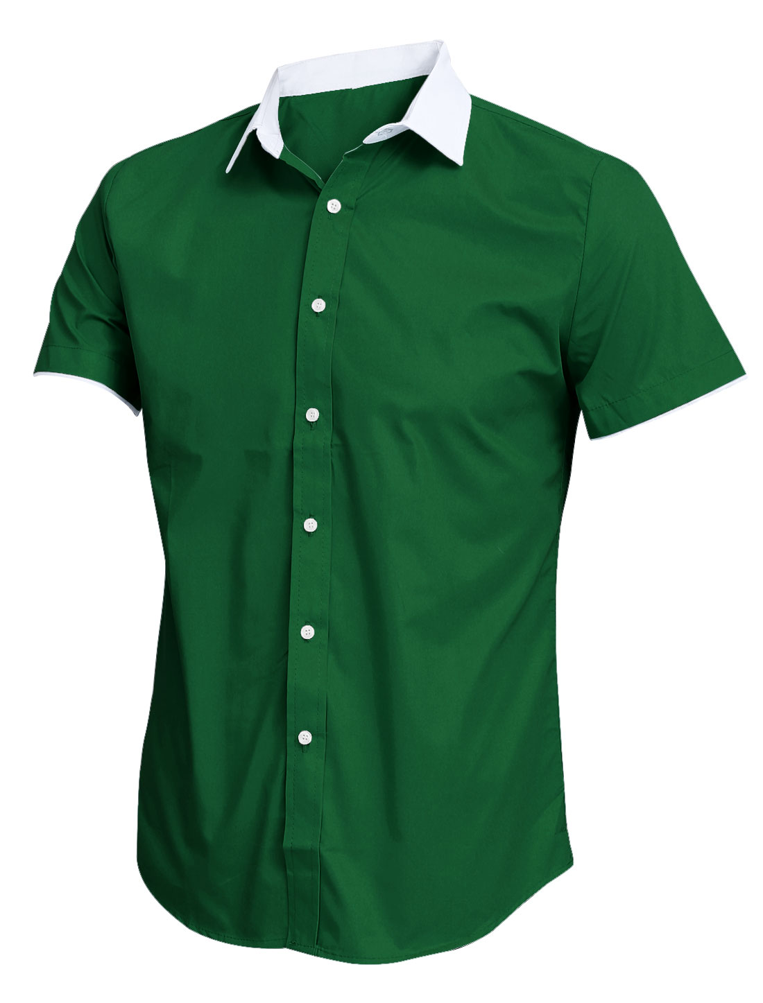 Men New Style Design Short Sleeve Button Up Dusty Green Shirt M