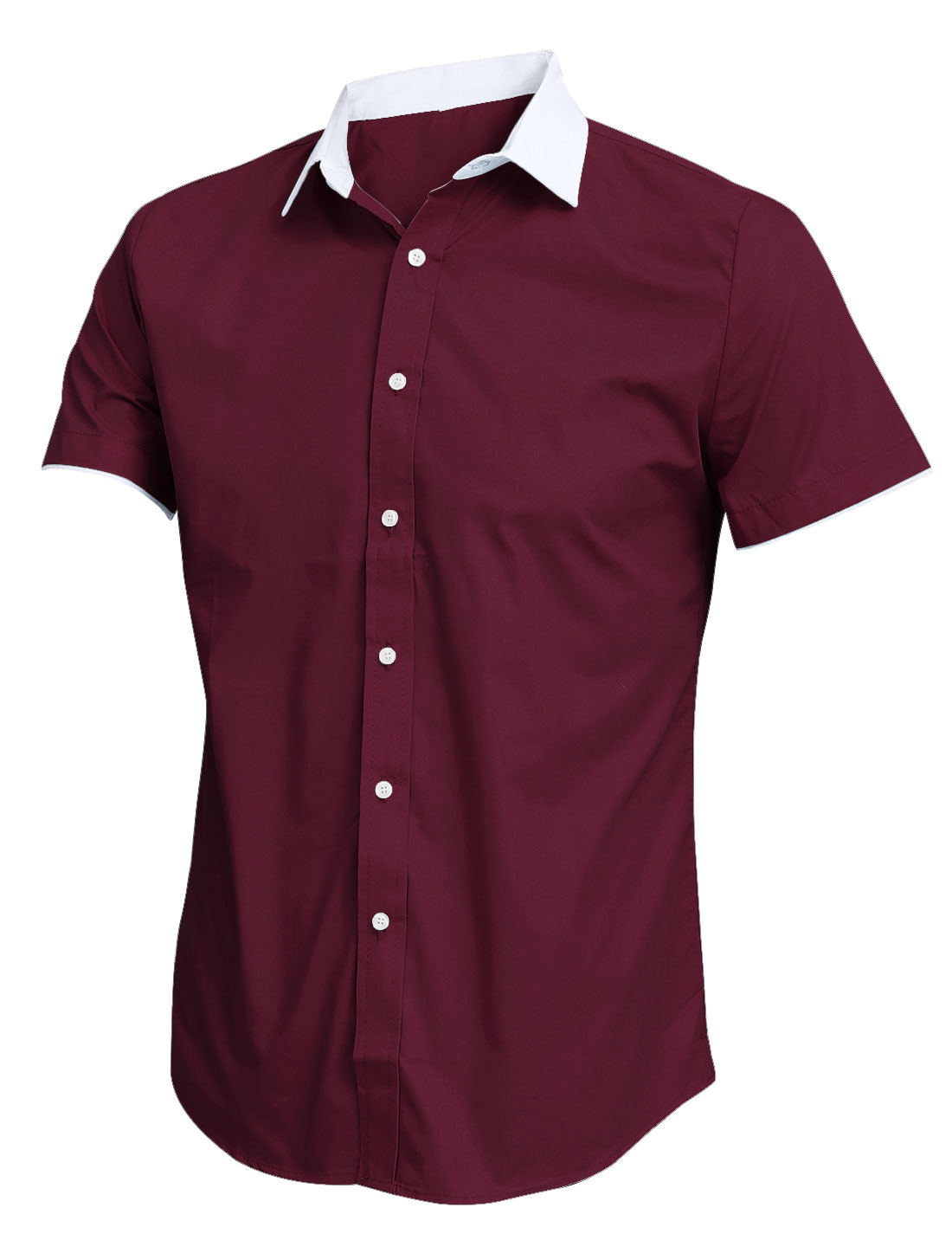 Men Stylish Casual Style Slim Fit Button Up Burgundy Shirt M