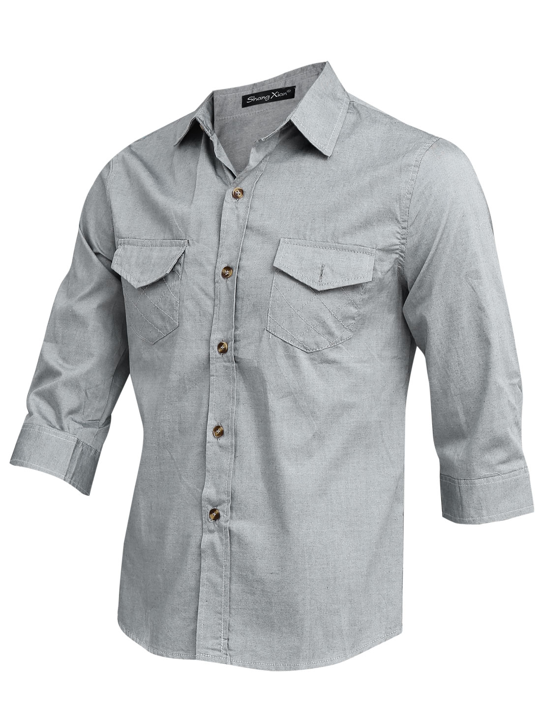 Man Single Breasted 3/4 Sleeves Button Cuffs Gray Shirt M