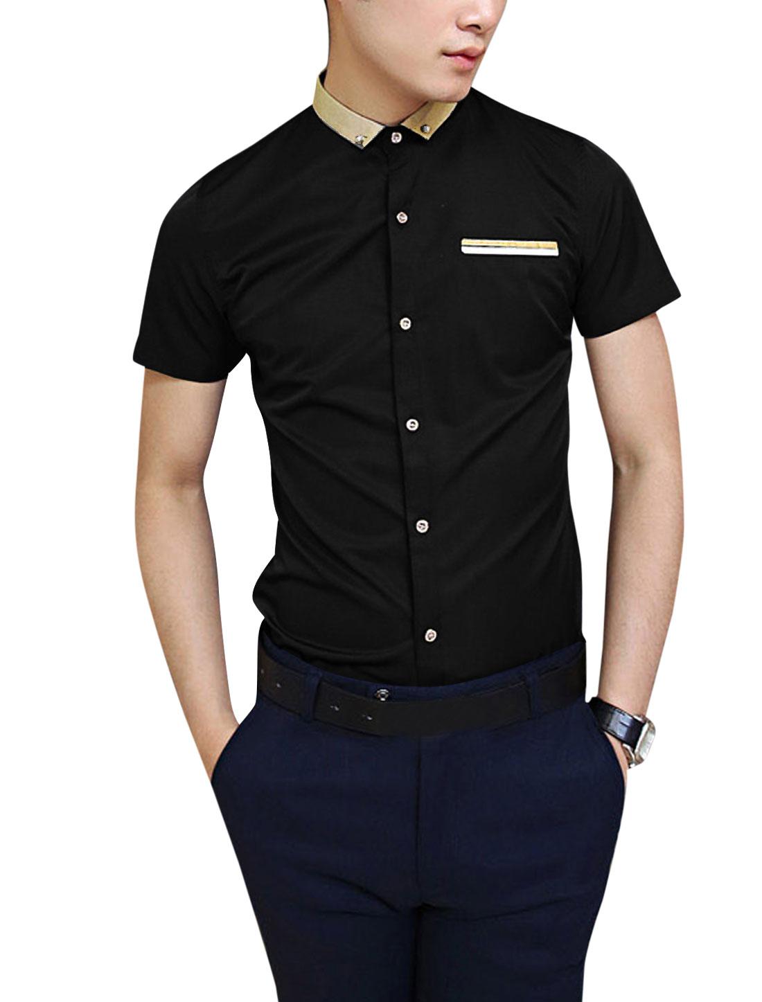 Man Point Collar Short Sleeves Button Down Chic Black Shirt M