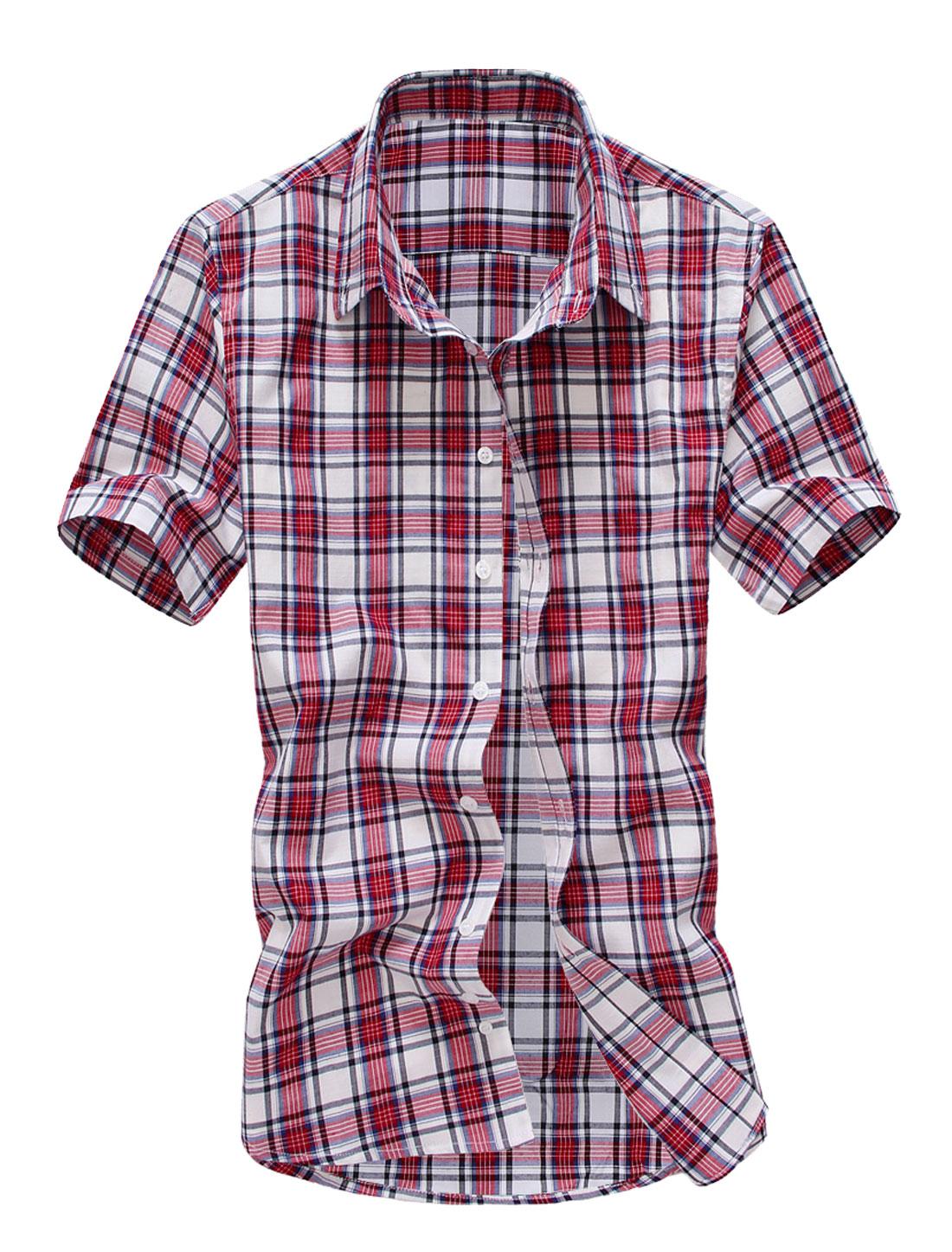 Men Buttons Detail Plaids Button Down Shirt Red M