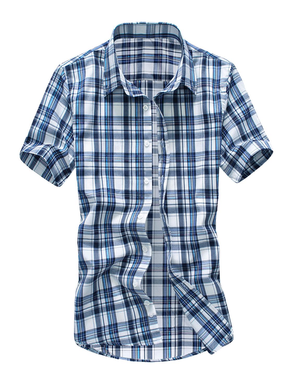 Men Point Collar Short Sleeve Plaids Button Down Shirt Purple M