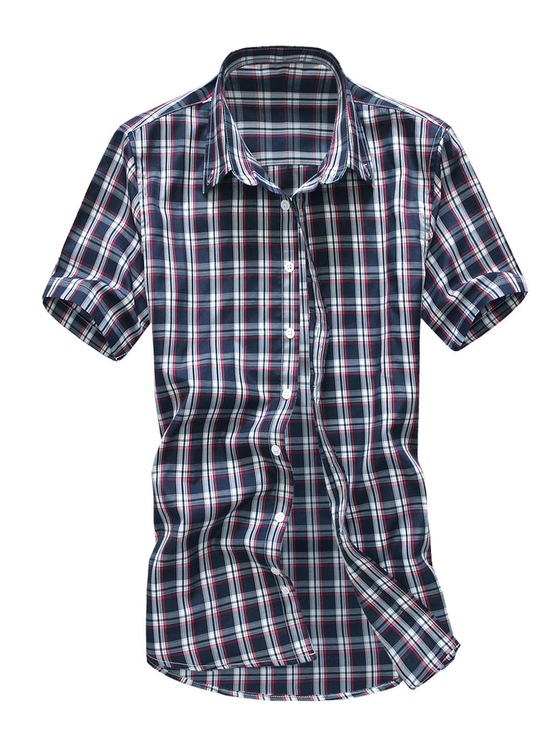 Men Stylish Point Collar Short Sleeve Check Button Down Shirt Navy Blue M