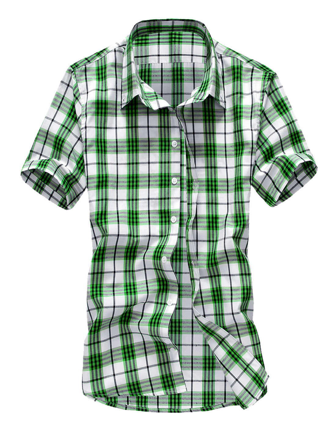 Men Modern Point Collar Short Sleeve Plaids Button Up Shirt Grass Green M