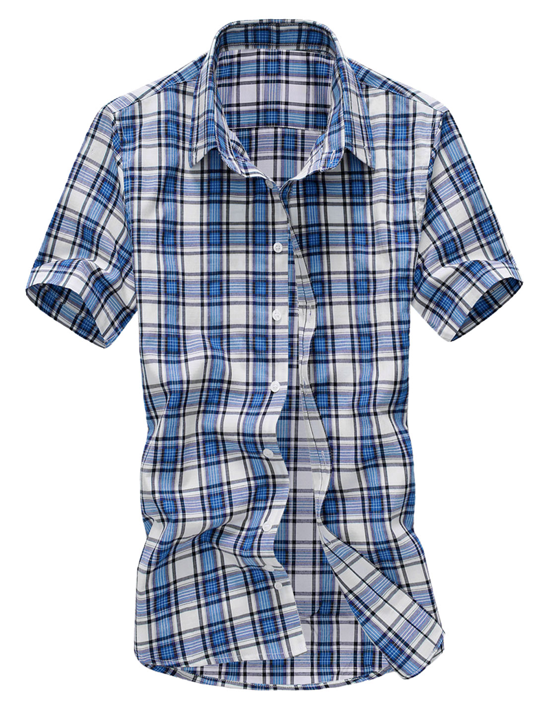 Men New Design Point Collar Short Sleeve Check Single Breasted Shirt Blue M