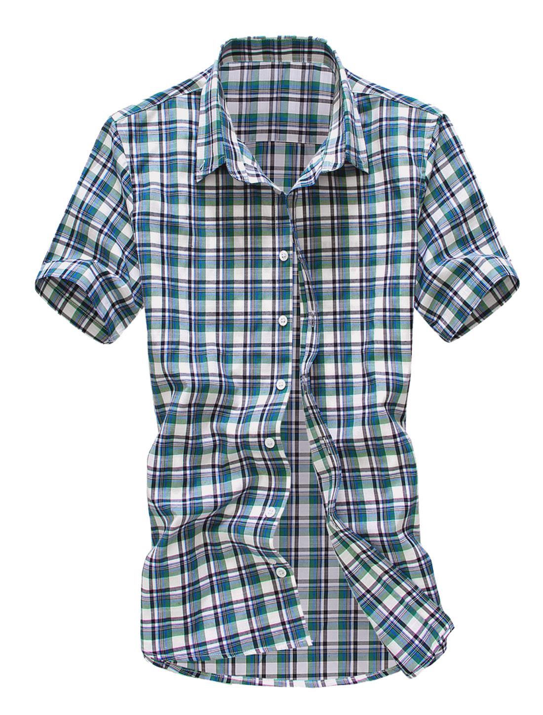 Men Point Collar Short Sleeve Plaids Button Up Simple Shirt Green M