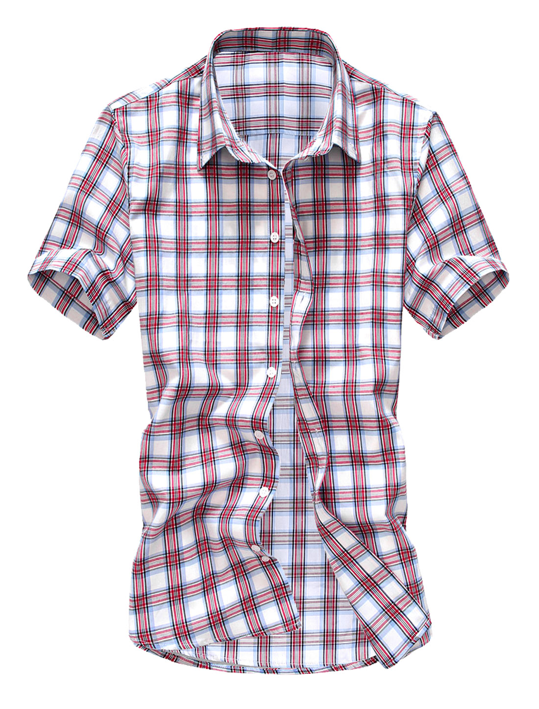 Men NEW Point Collar Short Sleeve Plaids Single Breasted Shirt Red M