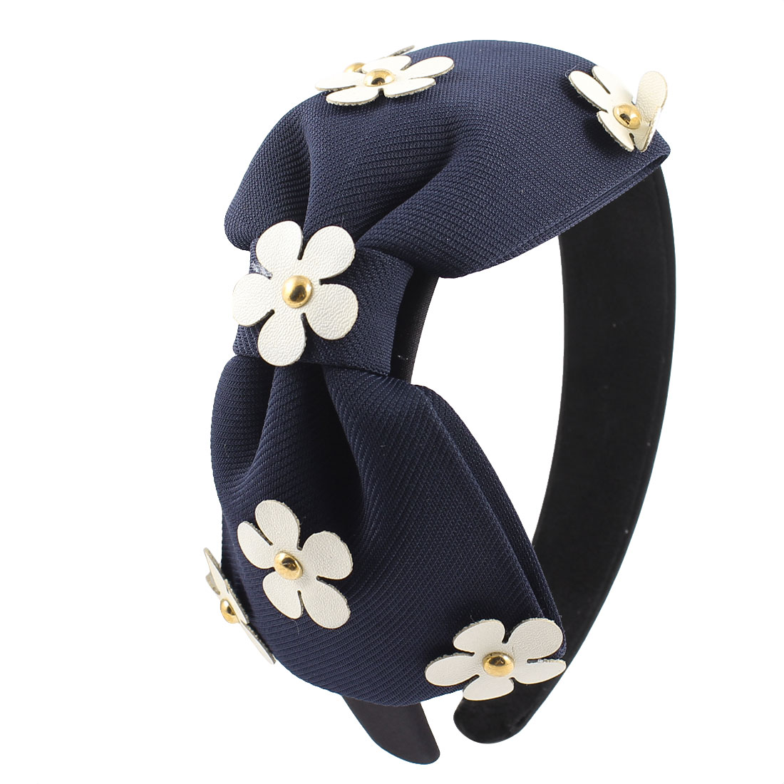Woman Navy Blue Bowknot Adorning Black Fabric Coated Hair Hoop Band