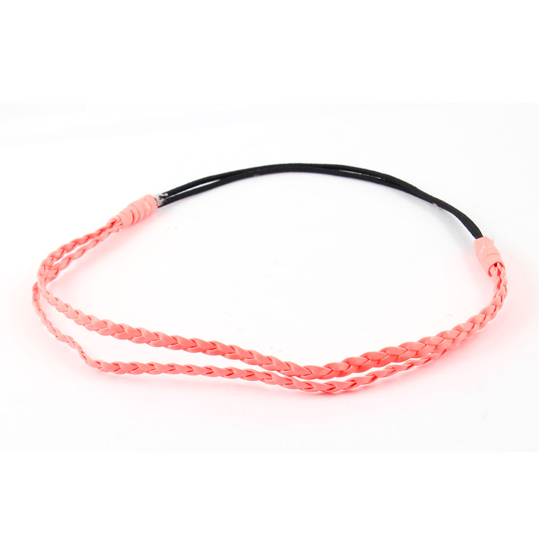 Orange Braided PU Leather Black Elastic Headband Hairband for Ladies
