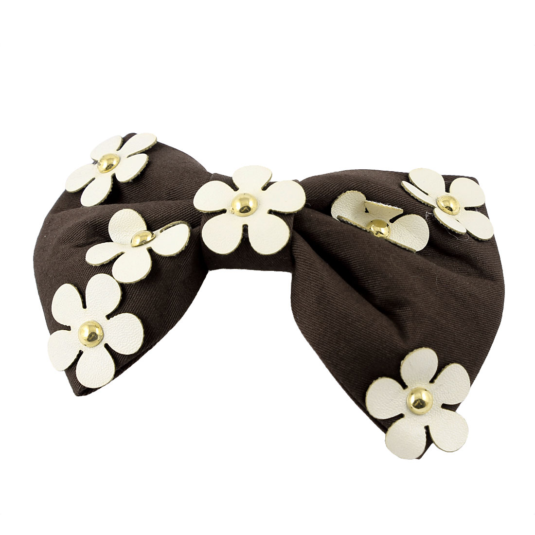 Woman Flower Coffee Color Bow Decoration Barrette Hair Clip