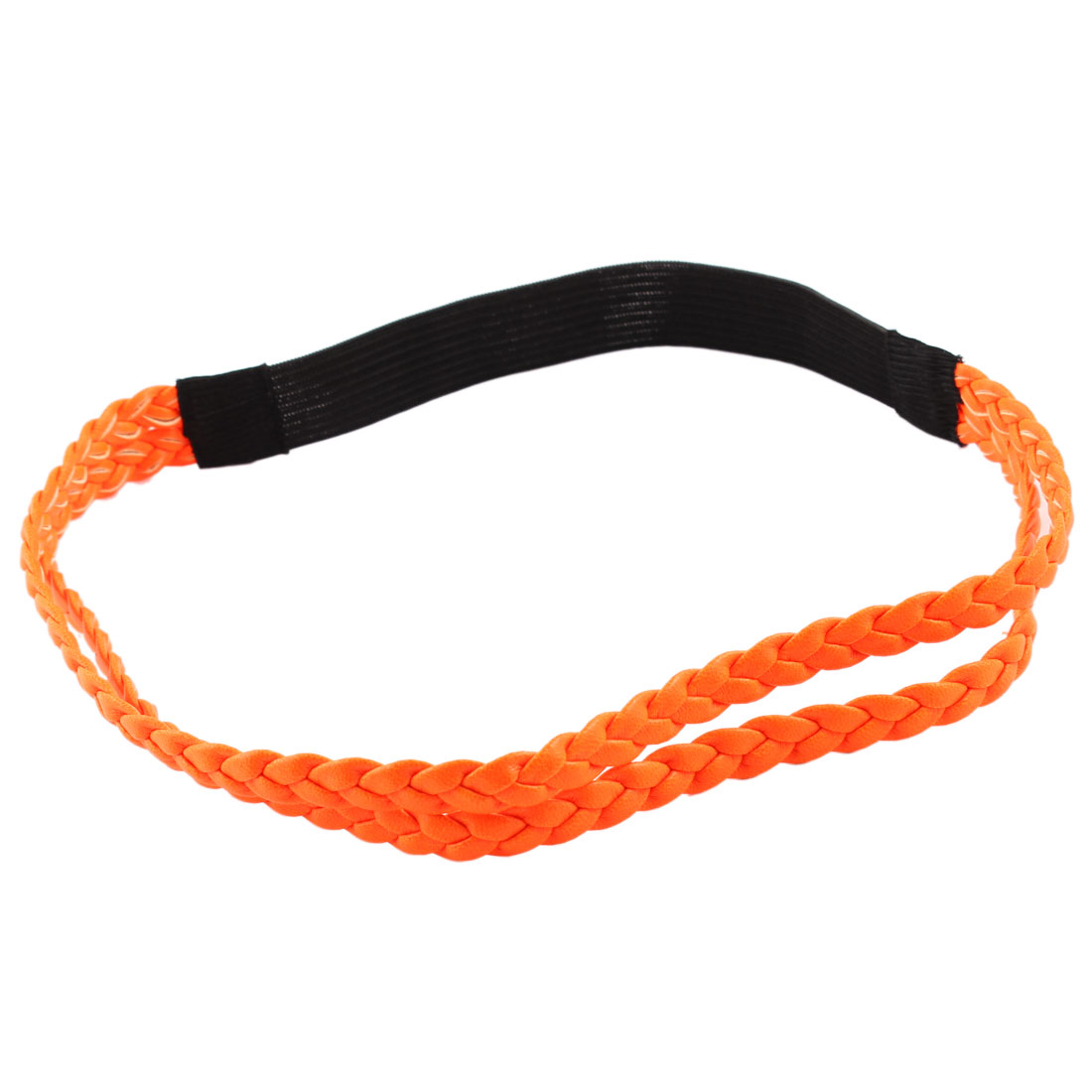 Orange 1.7cm Wide Braided PU Leather Black Elastic Headband Hairband for Ladies