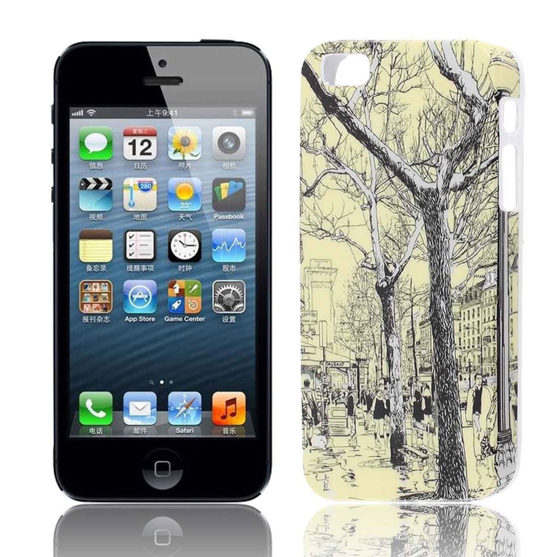Tree Pattern IMD Back Case Cover Protector Yellow for Apple iPhone 5S 5G 5GS