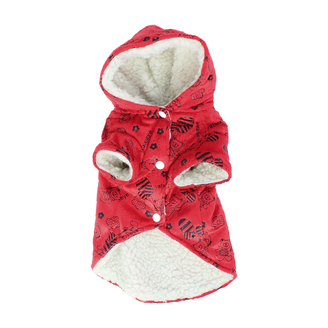 Single Breasted Flower Bear Pattern Pet Dog Yorkie Coat Apparel Red M