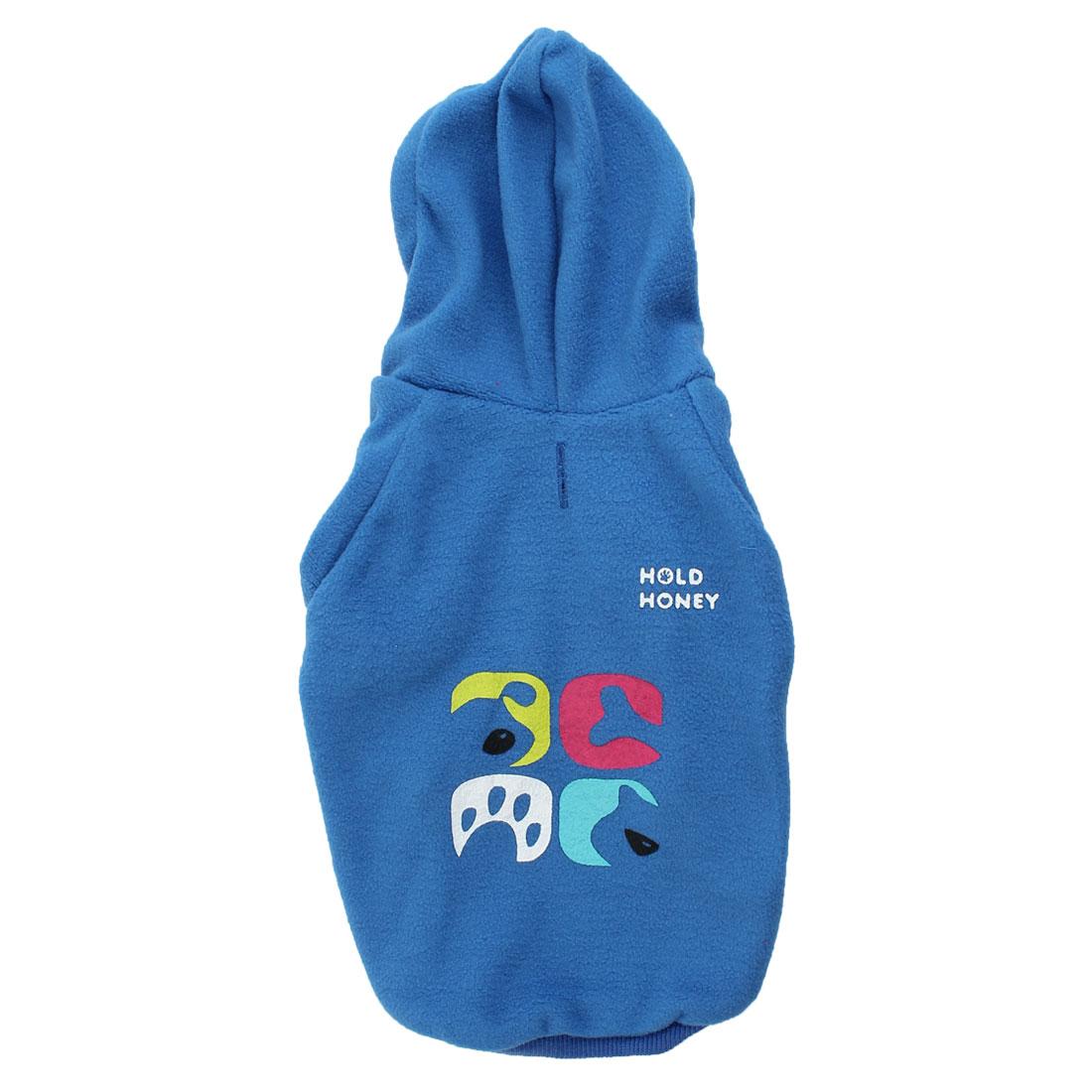 Winter Warm Fleece Raglan Sleeve Pet Dog Yorkie Coat Clothing Blue S