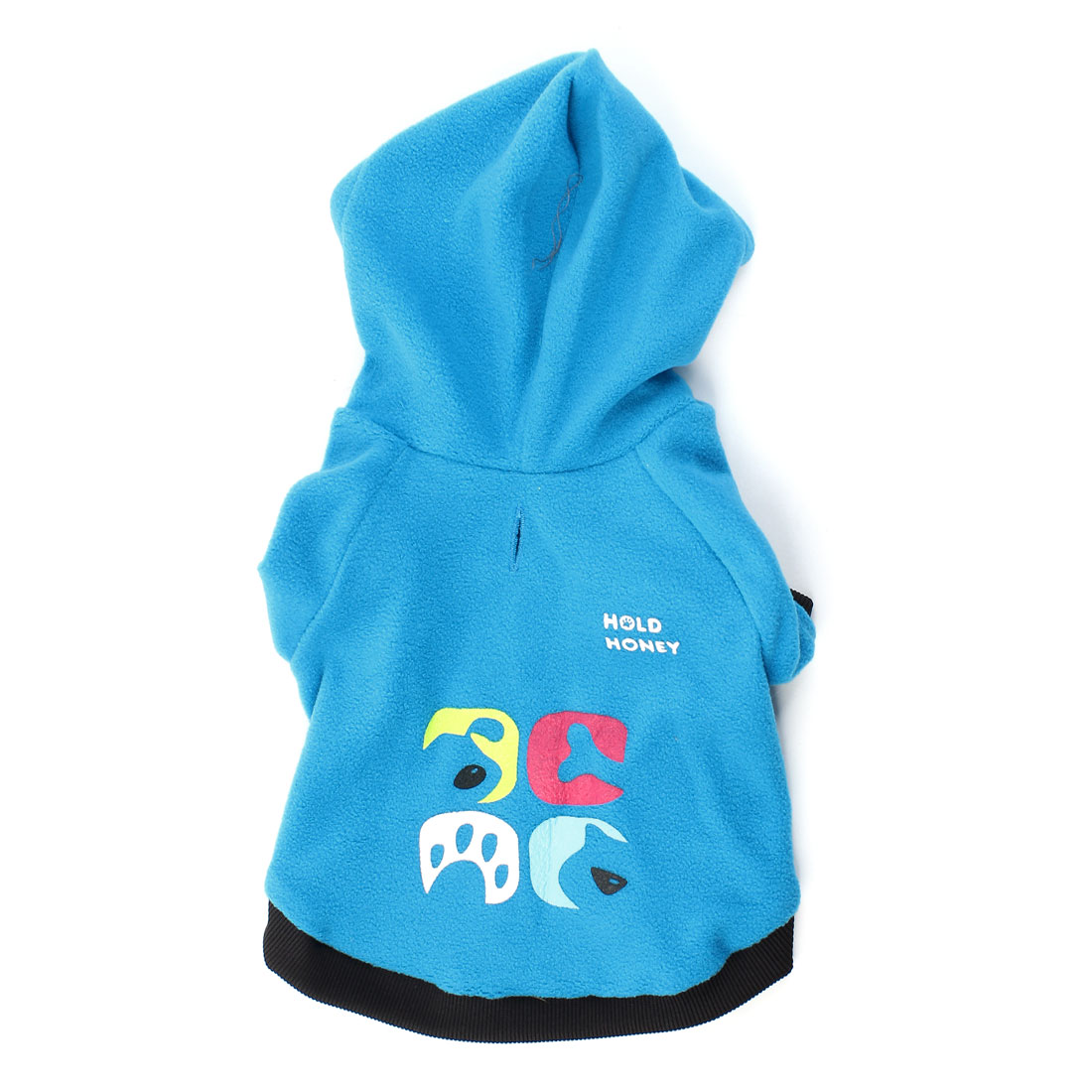 Winter Warm Raglan Sleeve Pet Dog Puppy Coat Clothing Blue Size M