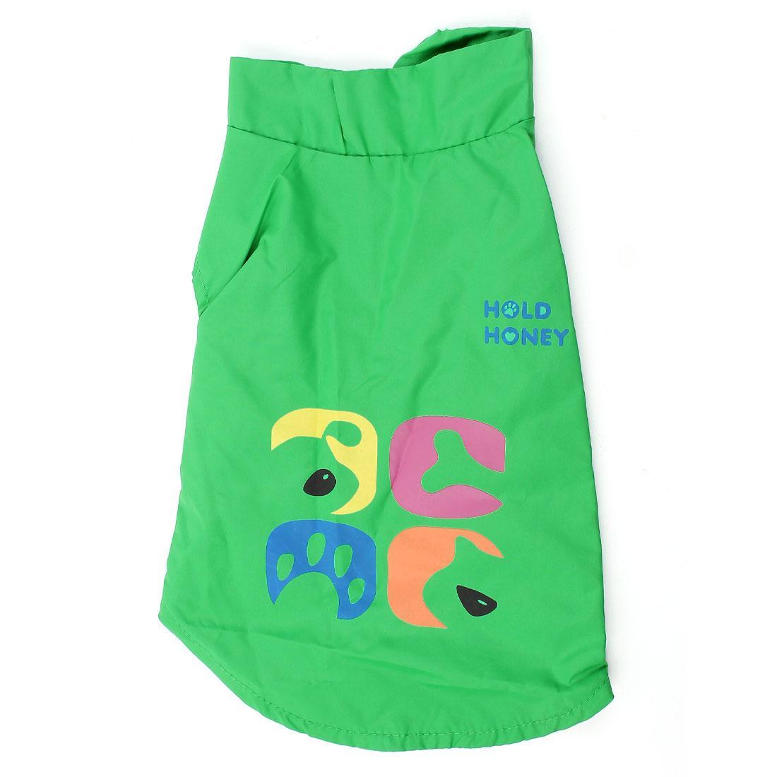 Stand Collar Hook Loop Fastener Pet Dog Yorkie Apparel Coat Green S