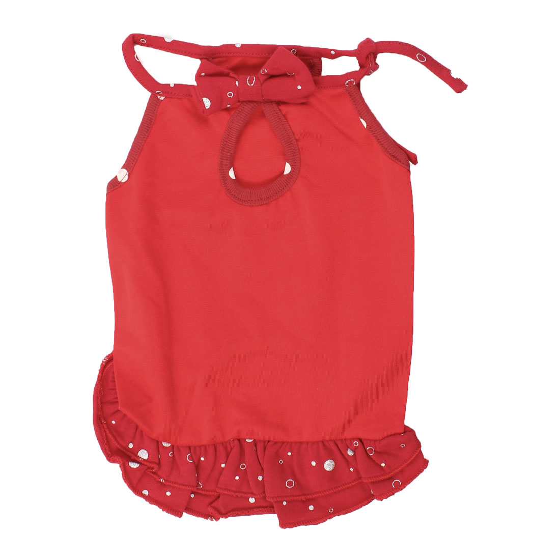 Summer Red Bowtie Detail Dotted Pet Dog Cat Tank Top Layered Dress S
