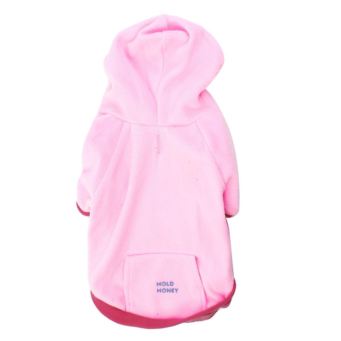 Winter Warm Fleece Raglan Sleeve Pet Dog Doggy Coat Clothing Pink M