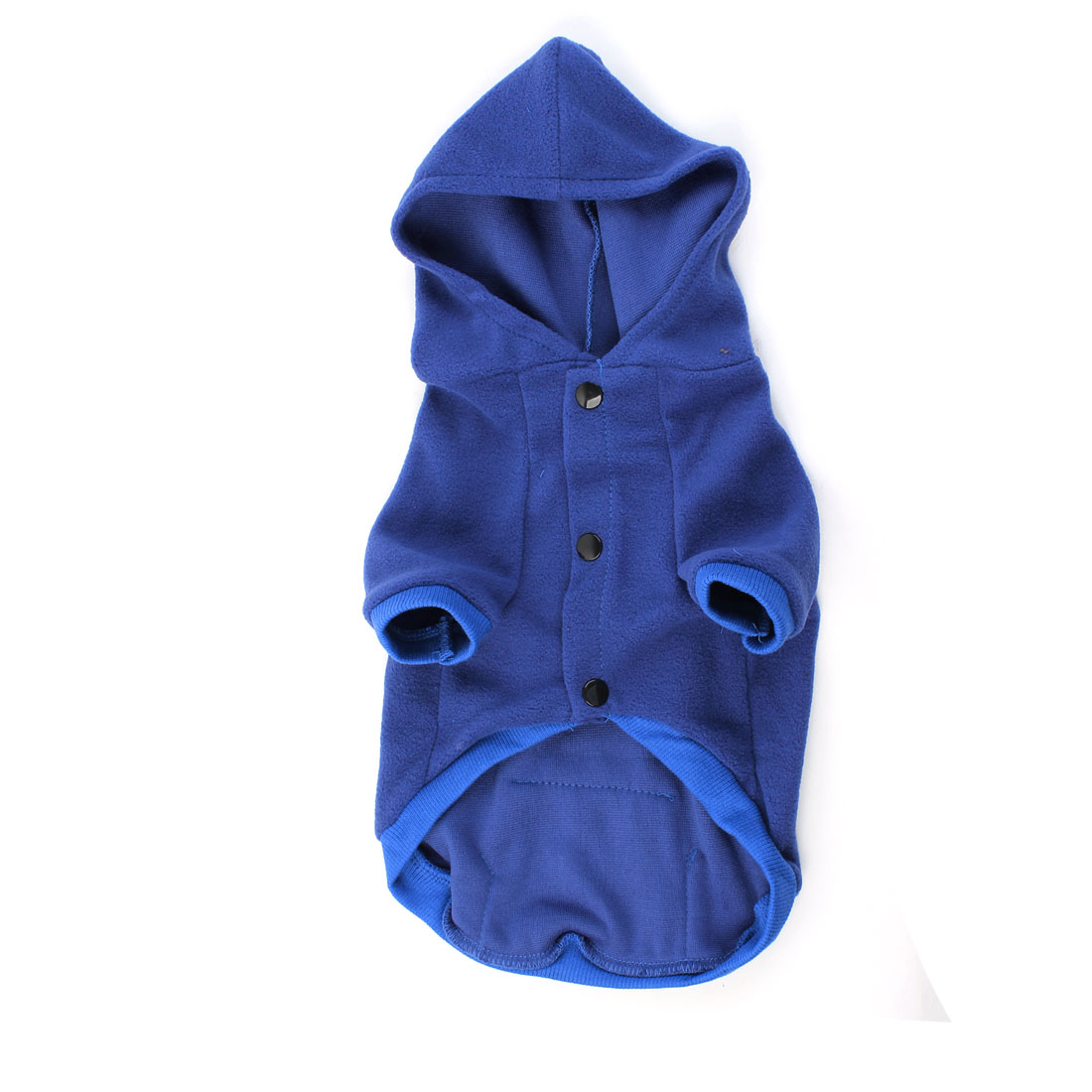 Press Stud Button Hooded Pet Dog Yorkie Pocket Coat Clothes Blue M