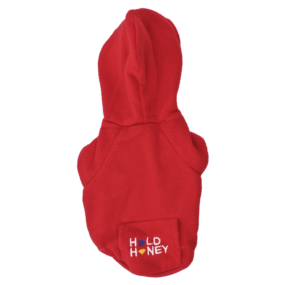 Single Breasted Hoodie Pet Dog Yorkie Pocket Coat Apparel Red S