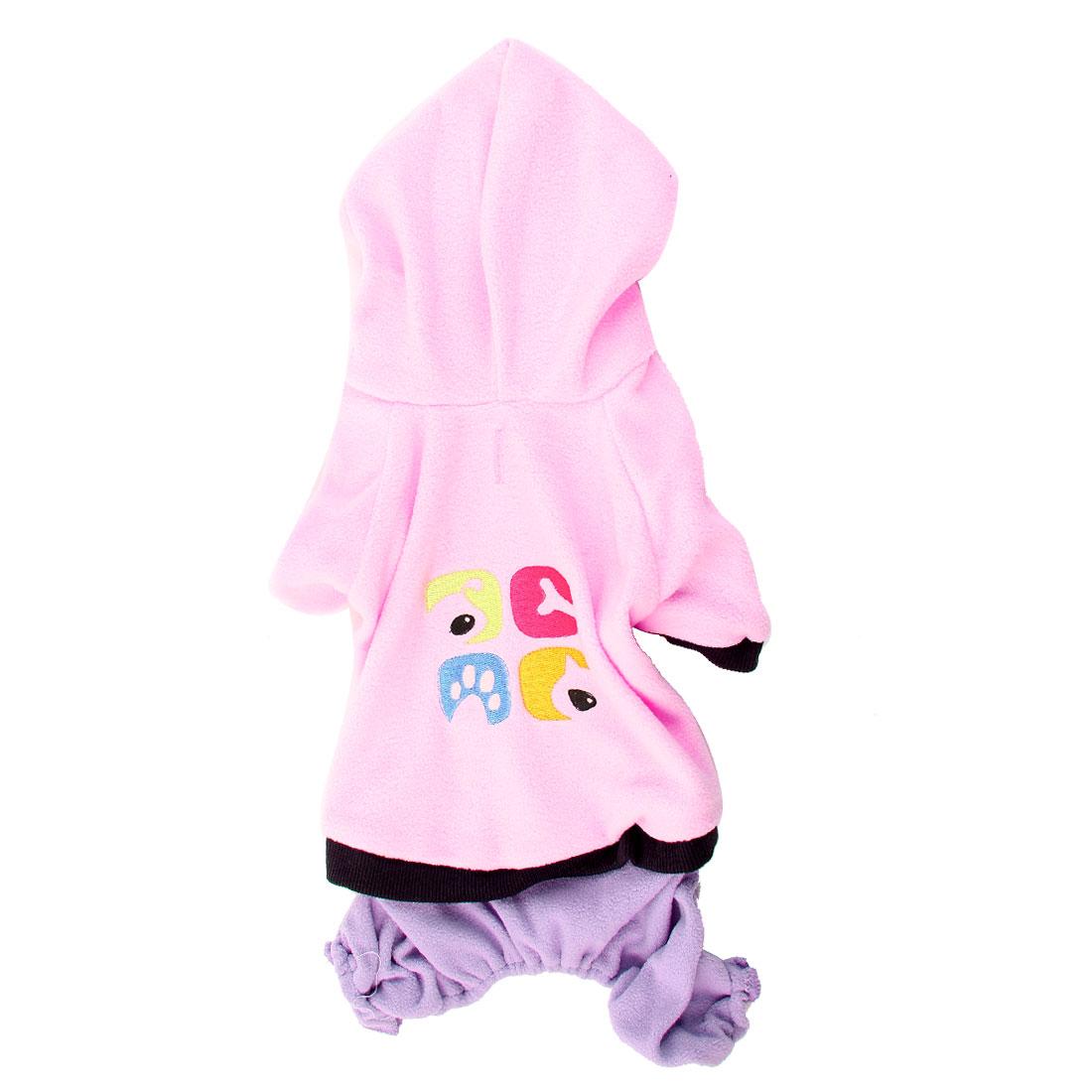 Single Breasted Hoodie Pet Dog Puppy Jumsuit Jumper Coat Purple Pink M