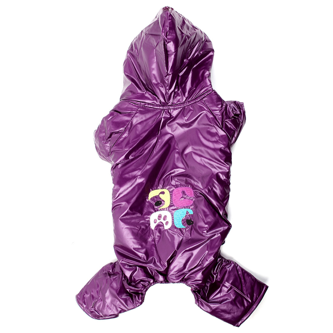 Short Sleeve Hoodie Pet Dog Yorkie Overall Down Coat Romper Purple M