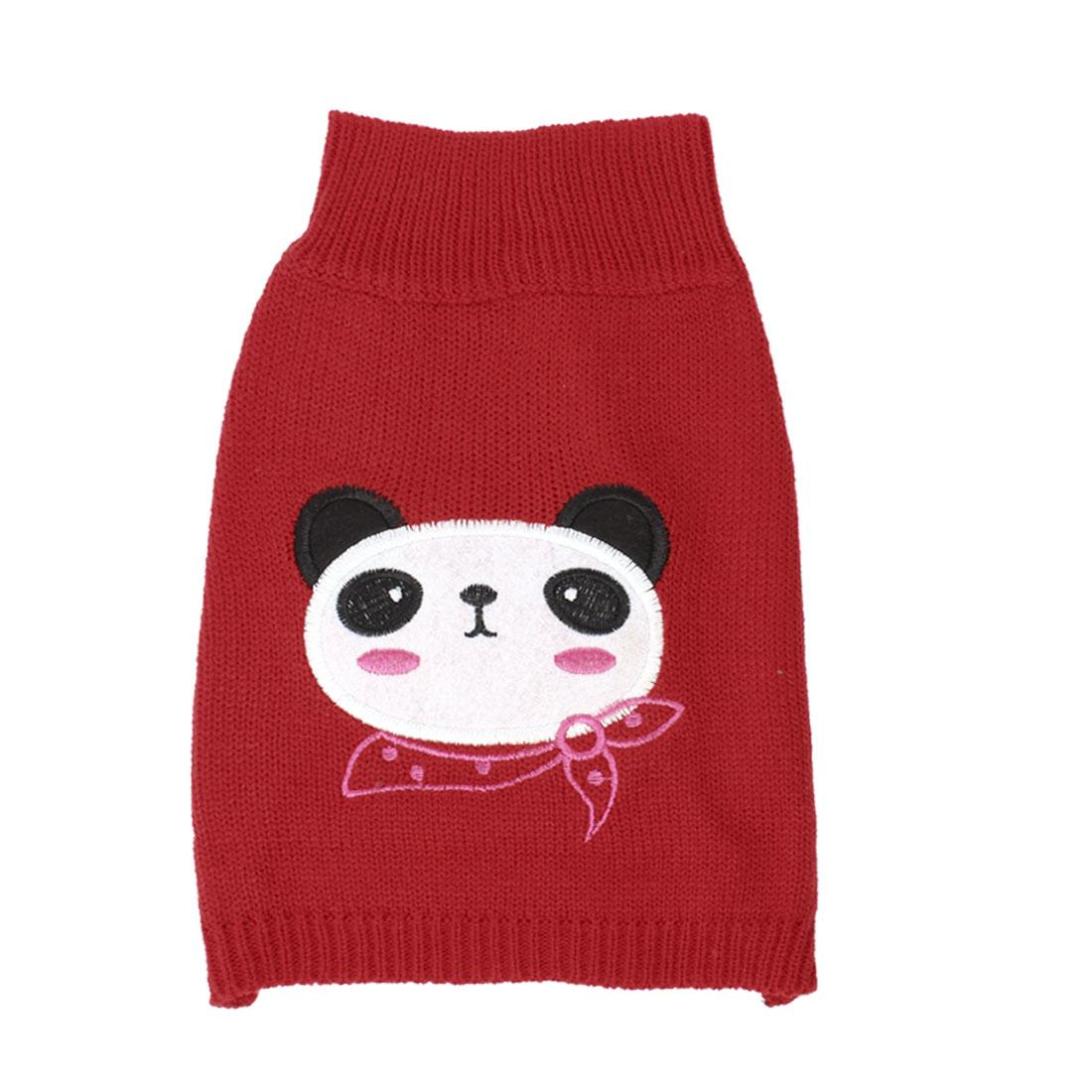 Winter Ribbed Hem Panda Print Pet Dog Yorkie Knitwear Sweater Red M