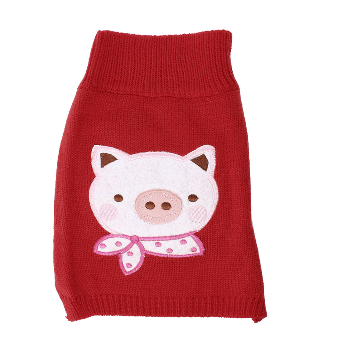 Pet Dog Puppy Pig Pattern Ribbed Cuff Knitted Apparel Sweater Red M