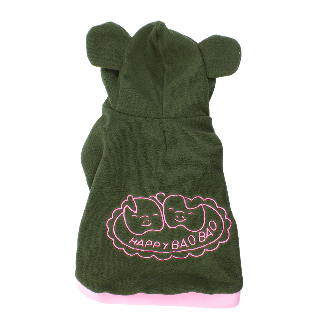 Single Breasted Hoodie Pig Print Pet Dog Cat Coat Apparel Costume Army Green S