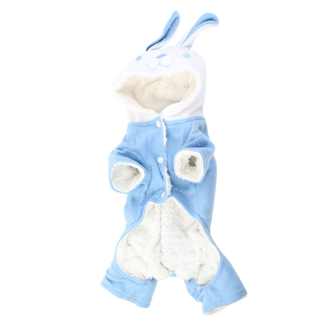 Winter Warm Rabbit Design Pet Dog Puppy Jumpsuit Overall Blue Size M