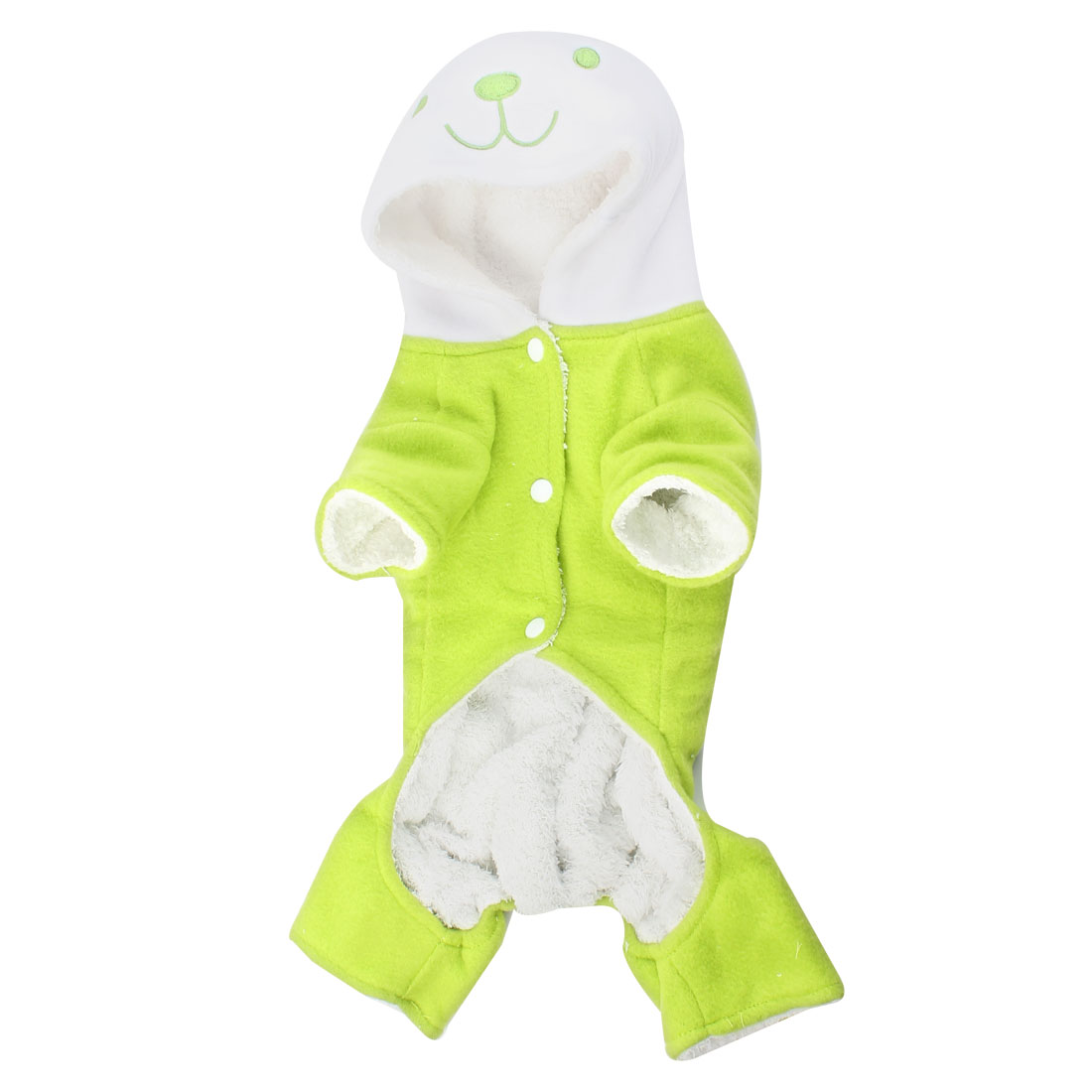 Press Stud Button Hoodie Rabbit Shape Pet Dog Jumpsuit Overall Green M