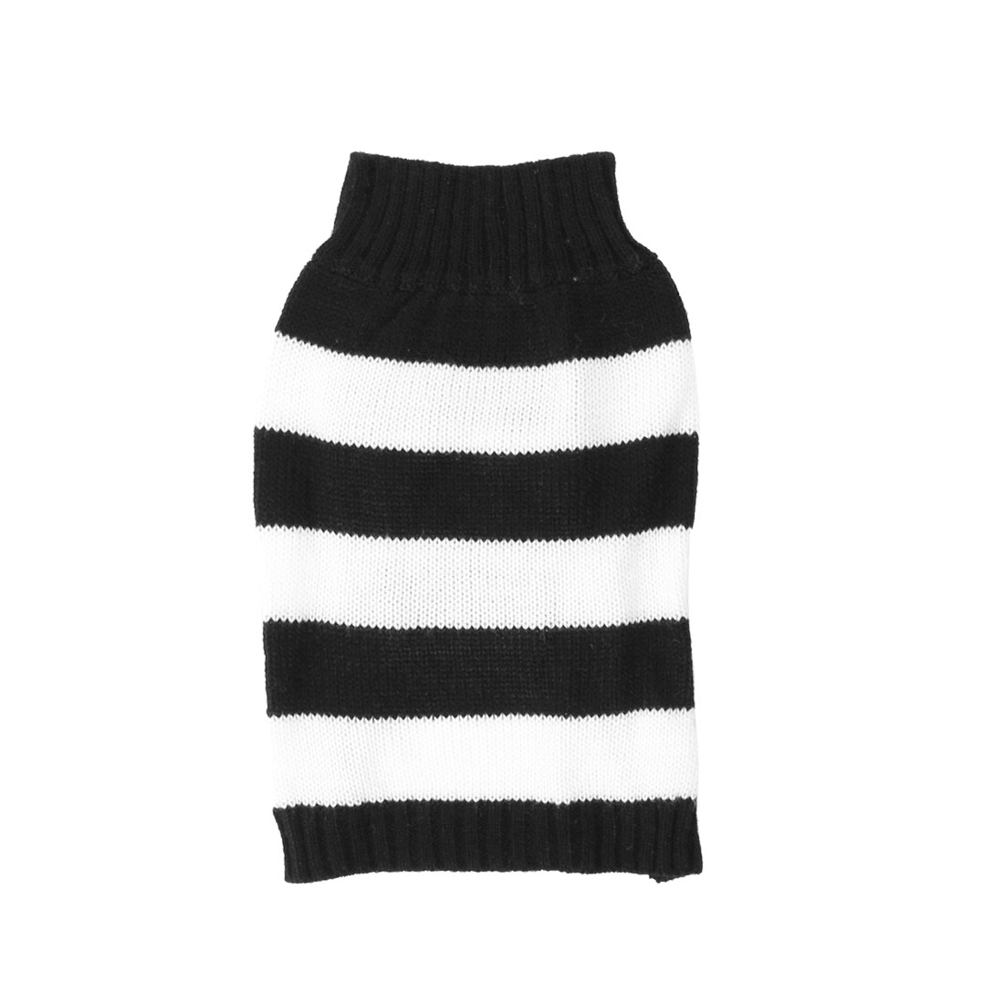 Stand Collar Stripe Printed Pet Dog Puppy Knitting Clothes Sweater Black White S