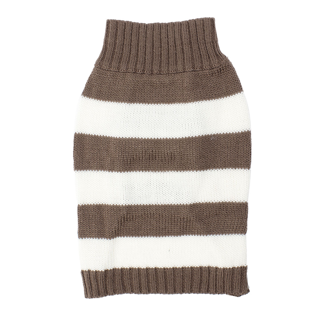 Pet Stripe Pattern Ribbed Cuff Knitted Apparel Sweater Chocolate Color White S