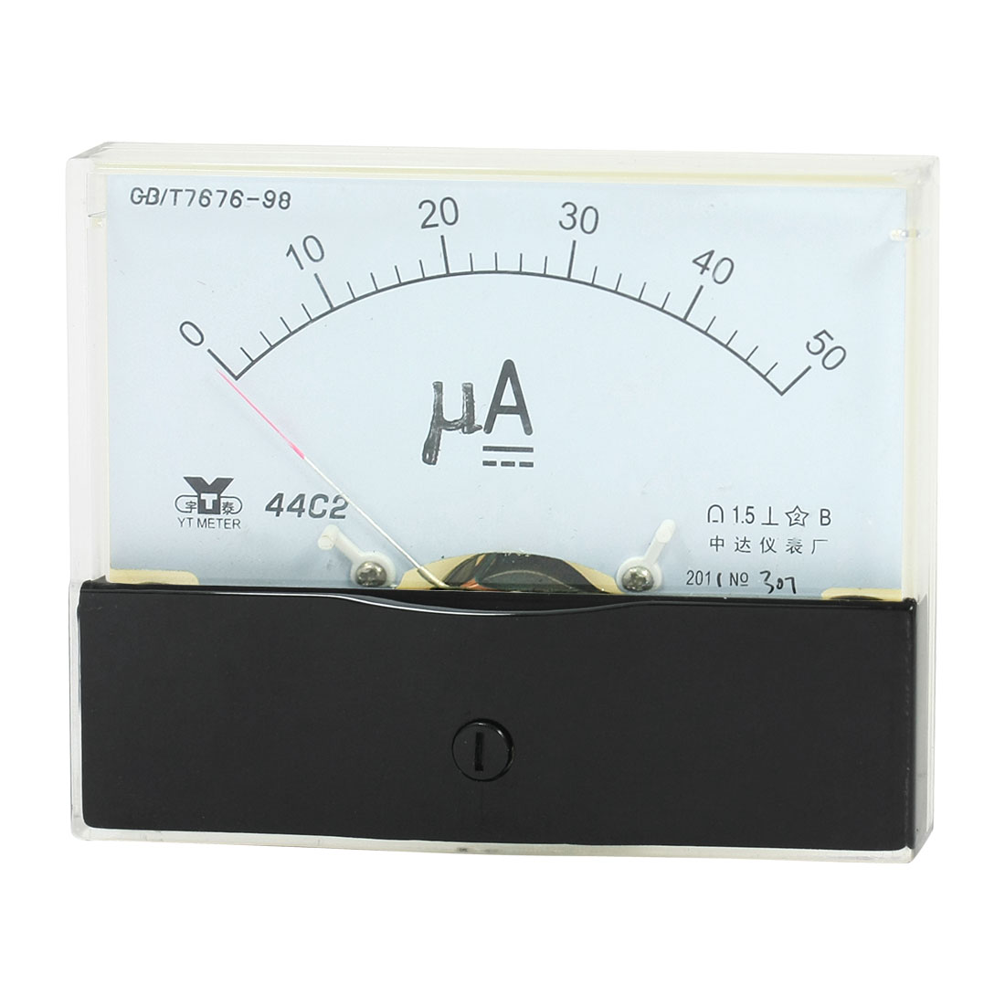 Rectangle Measurement Tool Analog Panel Ammeter Gauge DC 0 - 50uA Measuring Range 44C2