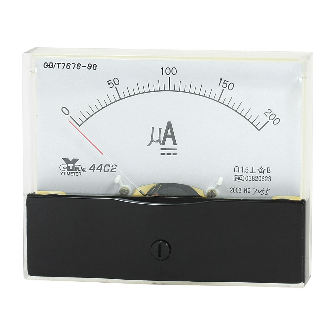 Rectangle Measurement Tool Analog Panel Ammeter Gauge DC 0 - 200uA Measuring Range 44C2