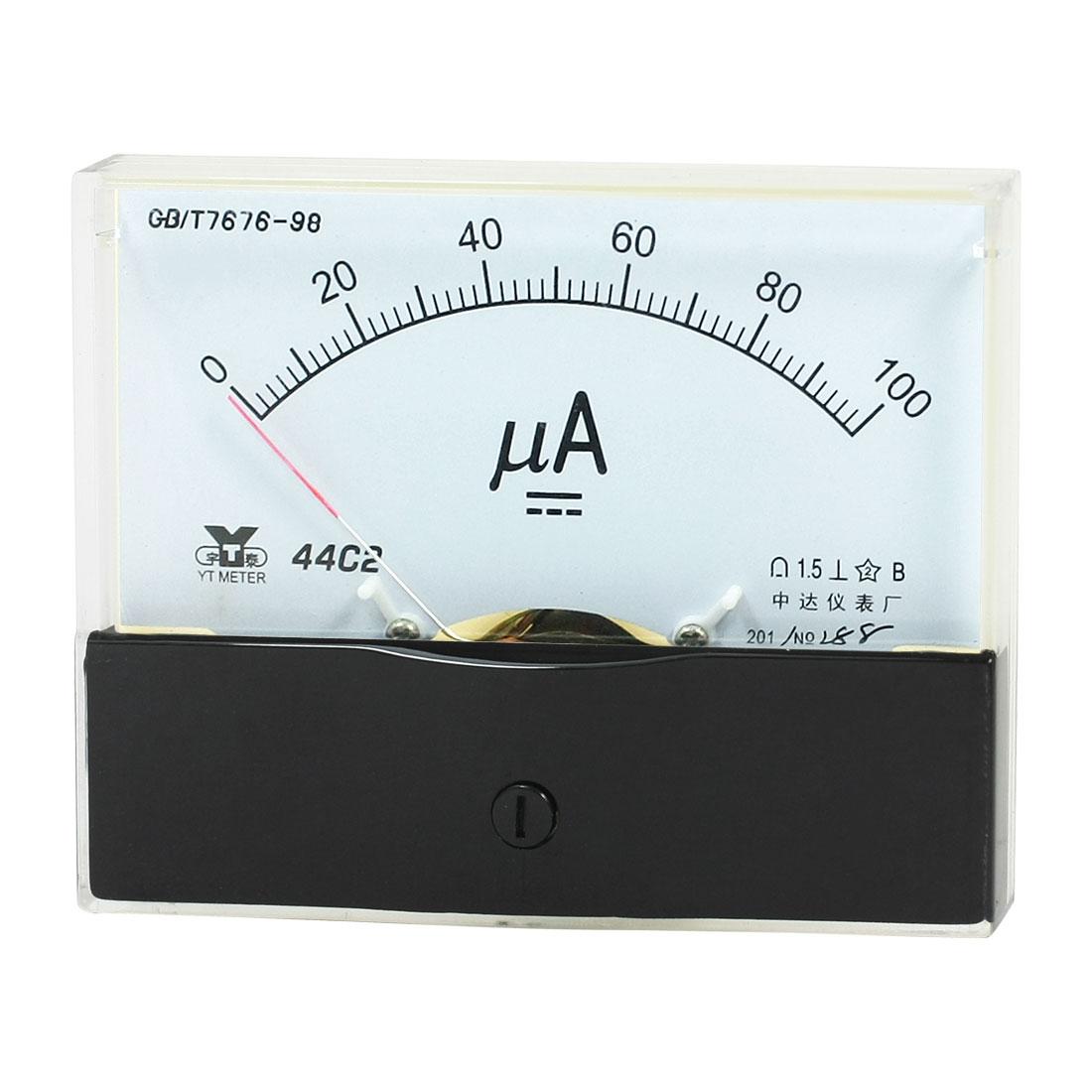 Measurement Tool Panel Mount Analog Ammeter Gauge DC 0 - 100uA Measuring Range 44C2