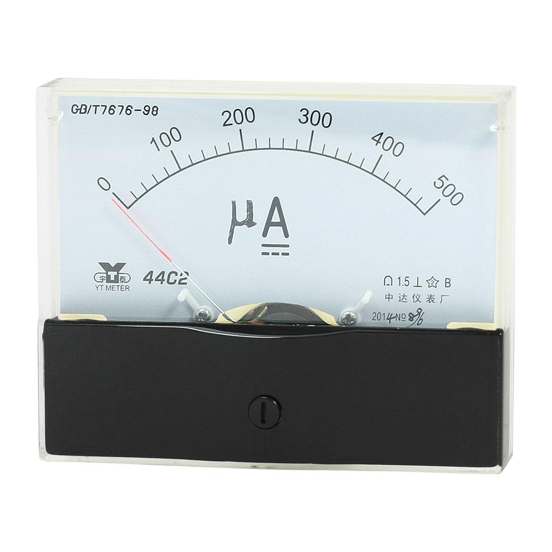Rectangle Measurement Tool Analog Panel Ammeter Gauge DC 0 - 500uA Measuring Range 44C2